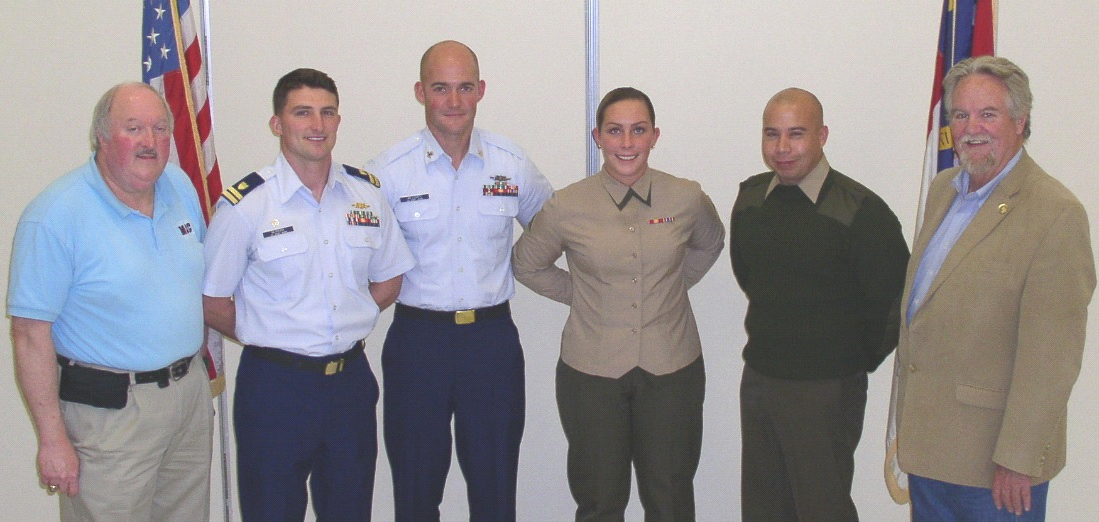MAC Chair David Heath (left) and Chamber Board Chair Kerry Youngblood (right) participated in the John C. Beitz Service of the Person Luncheon. They are pictured with Lt. Russell Newkirk and MK2 Dustin Messmer, both of the Coast Guard, and Lance Cpl. Allison App and Gunnery Sgt. Ivan Quan, both of the Marine Corps.
