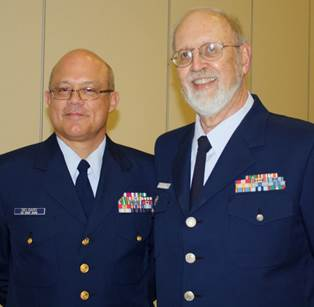 Cmdr. Javier Delgado of Coast Guard Station Fort Macon and Ben Crabtree of Flotilla 20-02, Morehead City, Coast Guard Auxiliary.