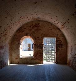A view from inside a casemate looking out to the parade ground. (Photo by Wes Daniels)