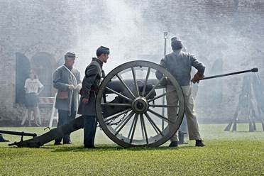 Periodic Civil War reenactments at Fort Macon are a treat for spectators. (Photos by Josh Fricker)
