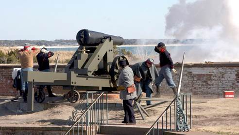 The Fort Macon cannons successfully thwarted the Union naval vessels from doing much damage to the fort during the Civil War. (Photo by Norm Kenneally)