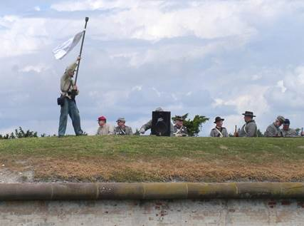 The Confederate troops chose to surrender after the fort's walls were weakened by shells and the powder magazines became vulnerable to explosion. (Only the Peavey speaker is not authentic to the actual battle in 1862.)